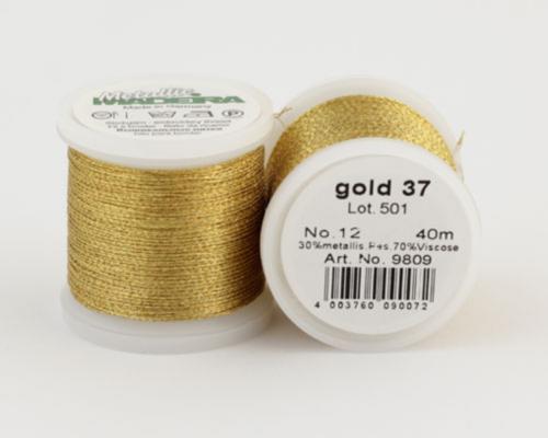 gold 37/9809 METALLIC №12 металлиз. полиэфир, 3-х слойная нить для вышивки и плетения, 40 м