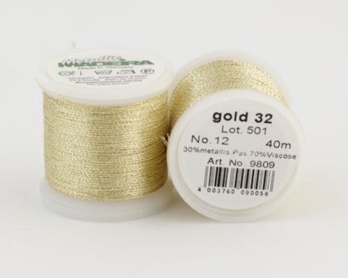 gold 32/9809 METALLIC №12 металлиз. полиэфир, 3-х слойная нить для вышивки и плетения, 40 м