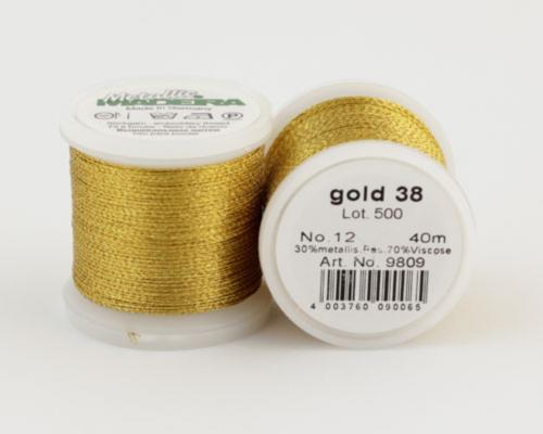 gold 38/9809 METALLIC №12 металлиз. полиэфир, 3-х слойная нить для вышивки и плетения, 40 м