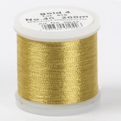 gold4/9842 Metallic №40 вискоза/металлизированный полиэфир для вышивания, 200 м