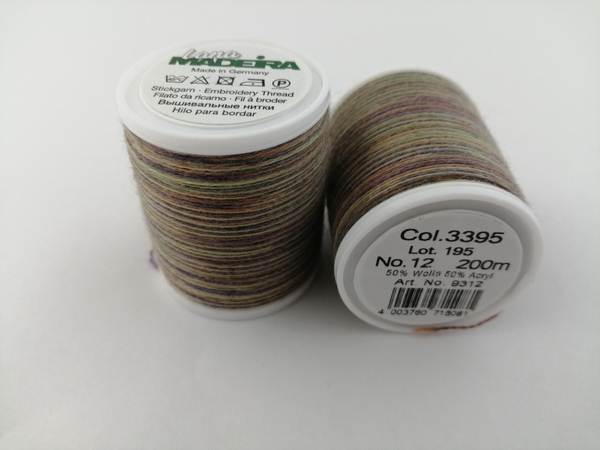 3395/9312 Нитки шерстянные вышивальные Lana multi №12 (200м)
